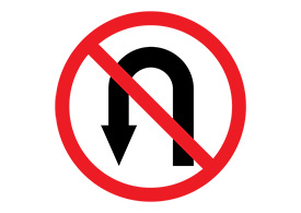 No Turning Vector Sign