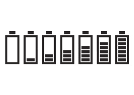 Set Of Battery Icons With 7 Charge Levels