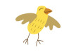 Cute Little Yellow Bird Vector Drawing