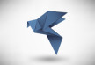 Origami Blue Dove Vector