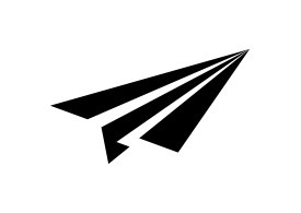 Simple Black Paper Plane Vector Icon