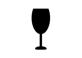 Simple Black Wine Glass Vector Icon