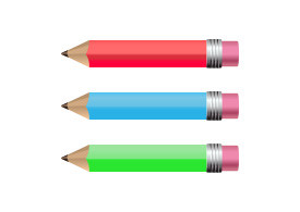 3 Colorful Vector Pencils