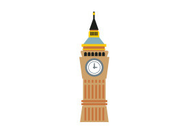 Clock Tower Flat Vector