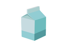 Flat Milk Carton Vector Illustration