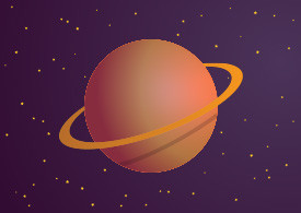 Planet With Ring Vector Illustration