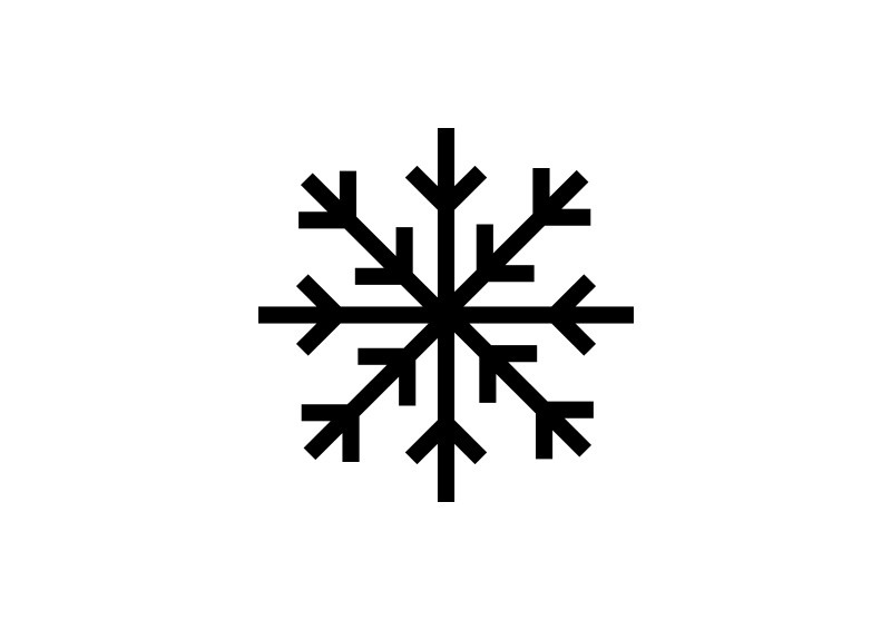 Simple Snowflake Line Art : Simple black vector snowflake