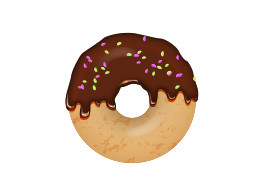 Chocolate Sprinkles Donut Vector Illustration