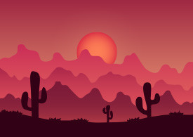 Desert Mountains Colorful Vector Landscape