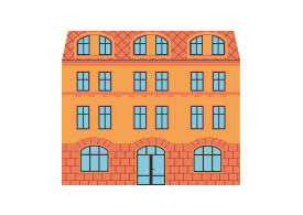 Flat Retro Building Free Vector