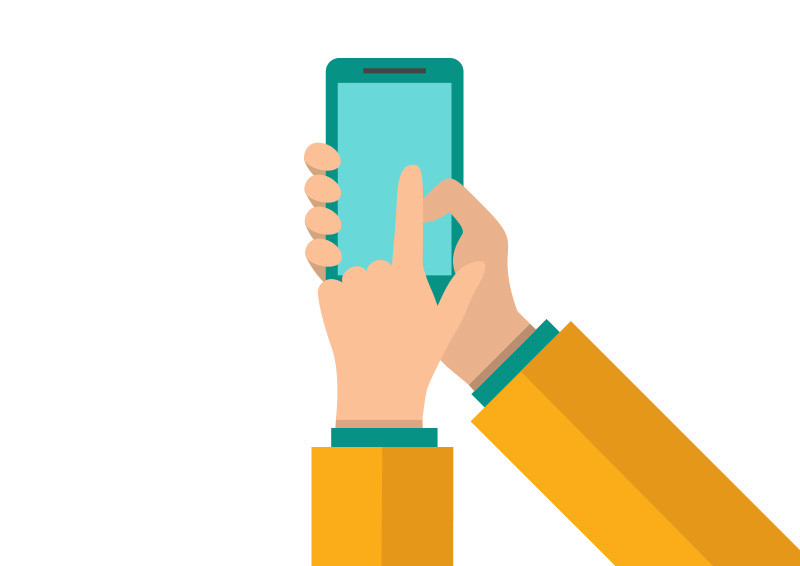 Hands Holding And Pointing On Smartphone Flat Vector