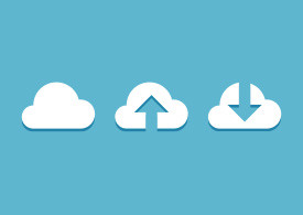 Cloud Upload And Download Flat Icons