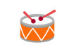 orange-flat-drum-with-red-drumsticks-thumb