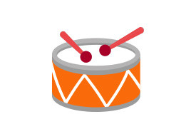Orange Flat Drum With Red Drumsticks