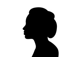 Beautiful Woman Face In Profile Silhouette