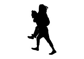 Silhouette Of Boy Carrying Girl On His Back