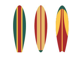 Surfboards Flat Vector