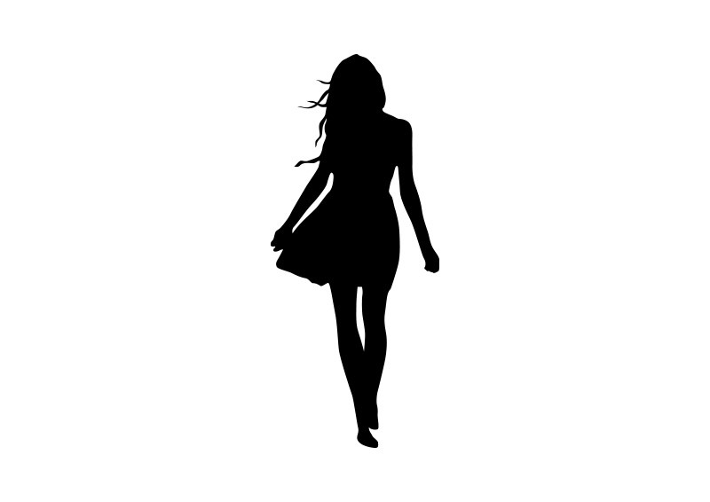 Woman In Dress Vector Silhouette