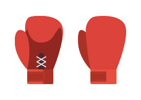 Boxing Gloves Flat Vector