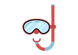 Diving Mask With Snorkel Flat Vector