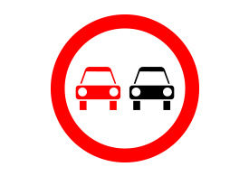 No Overtaking Road Sign Free Vector
