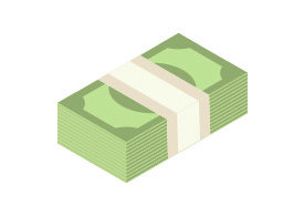 Pack Of Money Isometric Flat Vector