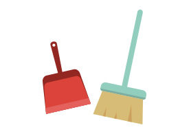 Broom And Dustpan Free Flat Vector