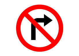 No Right Turn Restriction Vector Sign