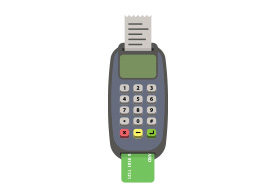 POS Terminal Credit Card Machine Flat Vector