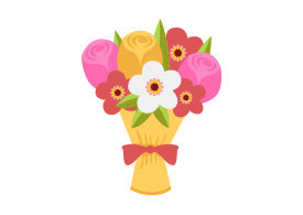 Bouquet Of Flowers Free Flat Vector