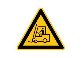 Caution Forklift Trucks Operating Vector Sign