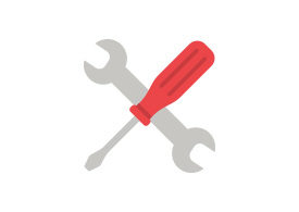 Wrench and Screwdriver Flat Vector Icon