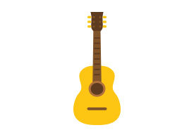 Acoustic Guitar Flat Vector Icon
