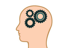 Head With Gears Flat Vector
