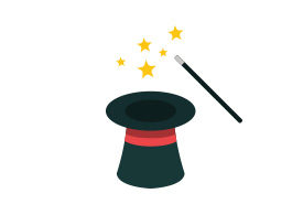 Magic Hat and Wand Flat Vector Icon