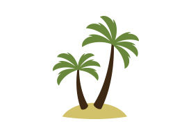 Palm Trees on Island Flat Style Vector