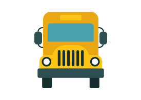 School Bus Flat Vector Icon