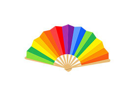 Hand Fan Colorful Flat Style Vector