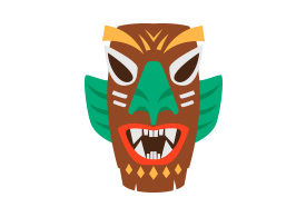 Wooden Tribal Mask Free Vector