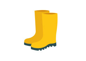 Yellow Rubber Boots Vector Illustration