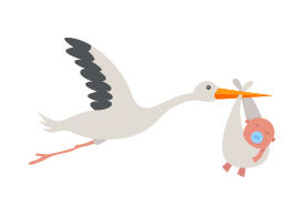 Stork With Baby Vector Illustration