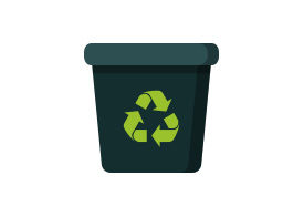 Dark Recycle Bin Flat Vector