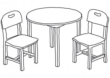 Line Art Chairs And Table