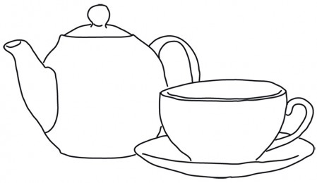 Line Art Tea Pot With Cup Free Vector Ilration