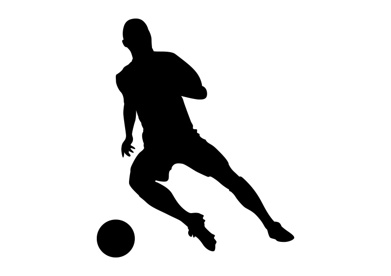 Football Player Black Vector Silhouette On White Background