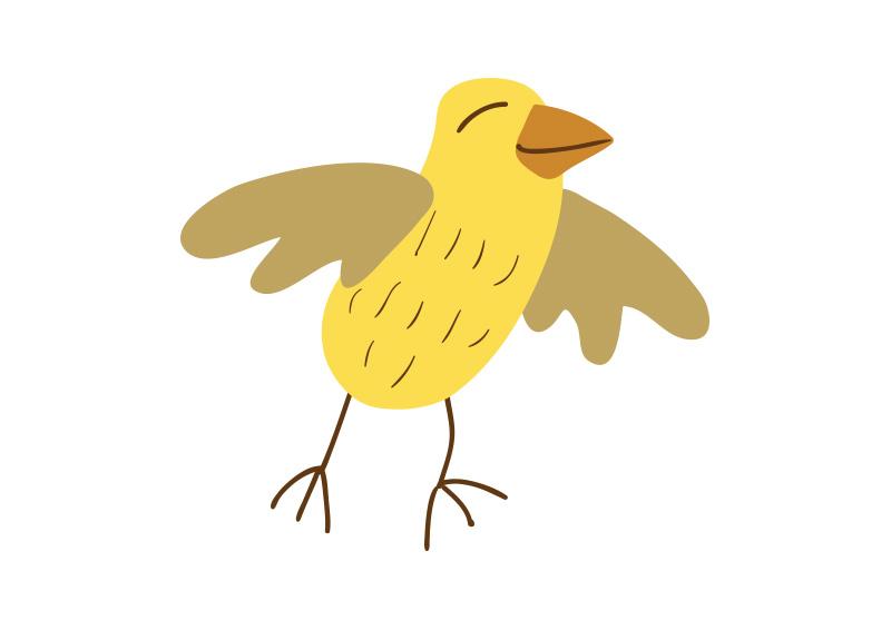 Little Yellow Bird >> Cute Little Yellow Bird Vector Drawing