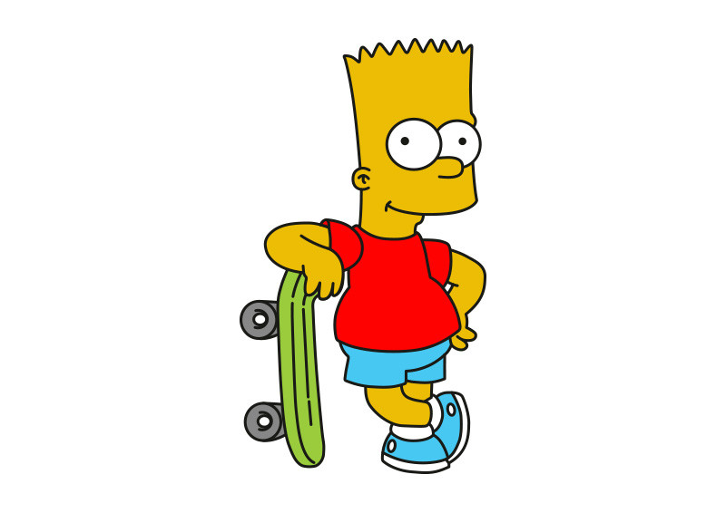 Christmas Bart Simpson Drawing Lesson, Easy, 7 Steps