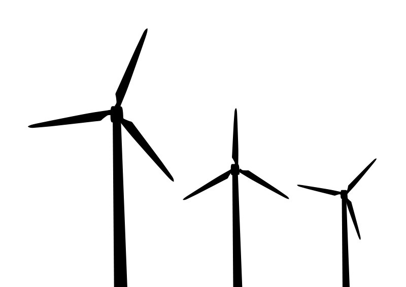 Windmills Vector Silhouettes on water for cars