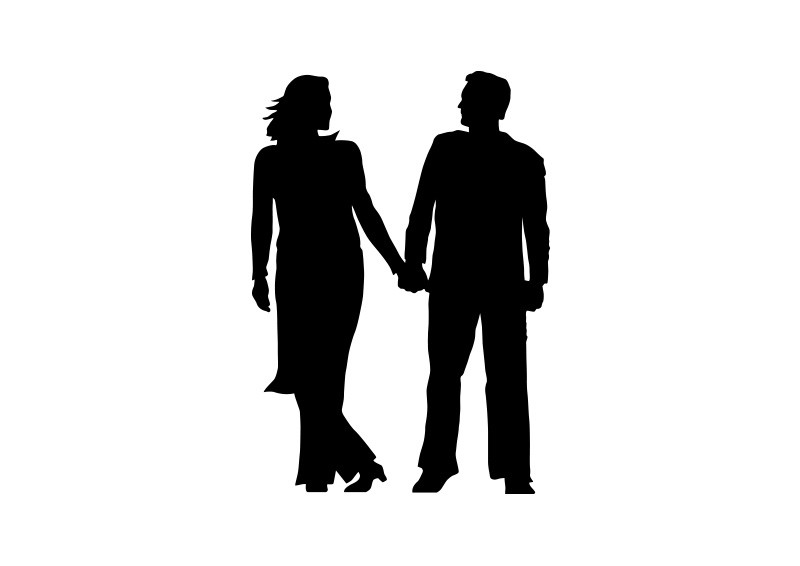 happy couple holding hands silhouette