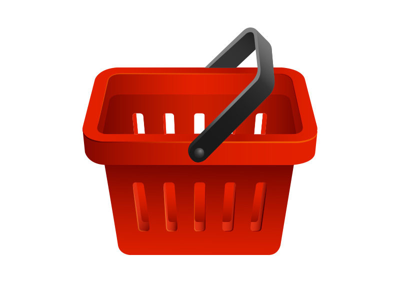 red shopping basket vector icon superawesomevectors